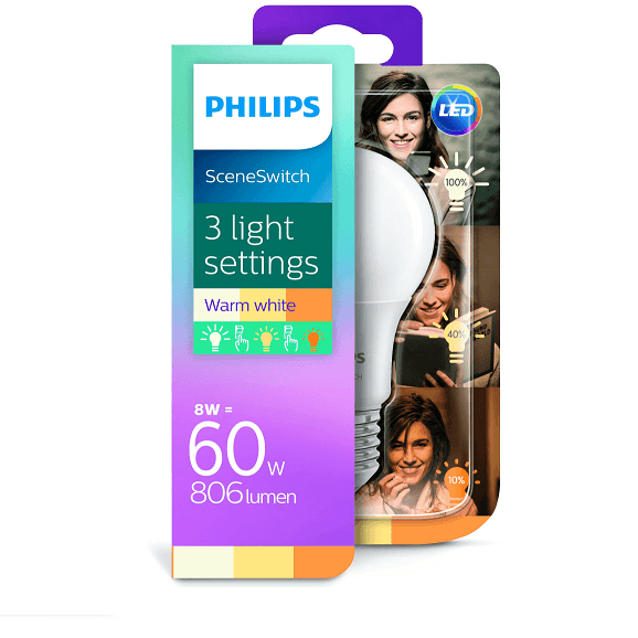 Philips SceneSwitch 3 Standen Lamp Led E27 60w