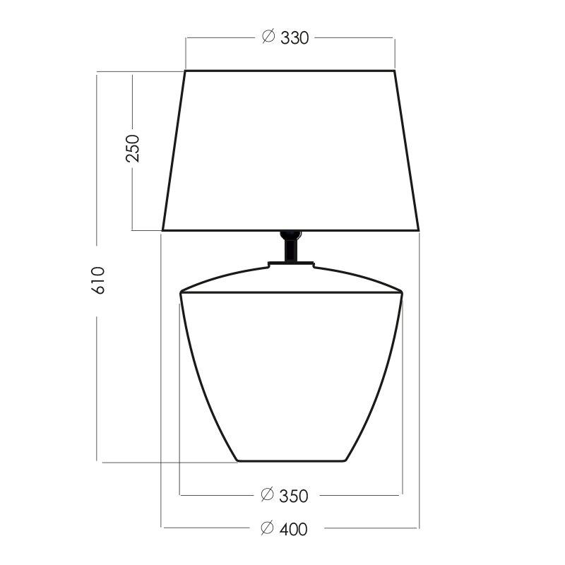 Glazen lamp met zwarte kap goud