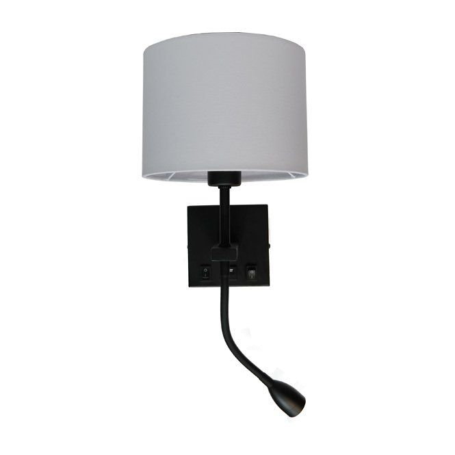 Wandlamp Quad USB Zwart Exclusief Kap