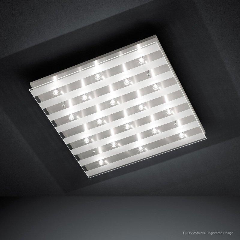 Plafondlamp Grossmann Palazzo Staal Met Gestreept Glas
