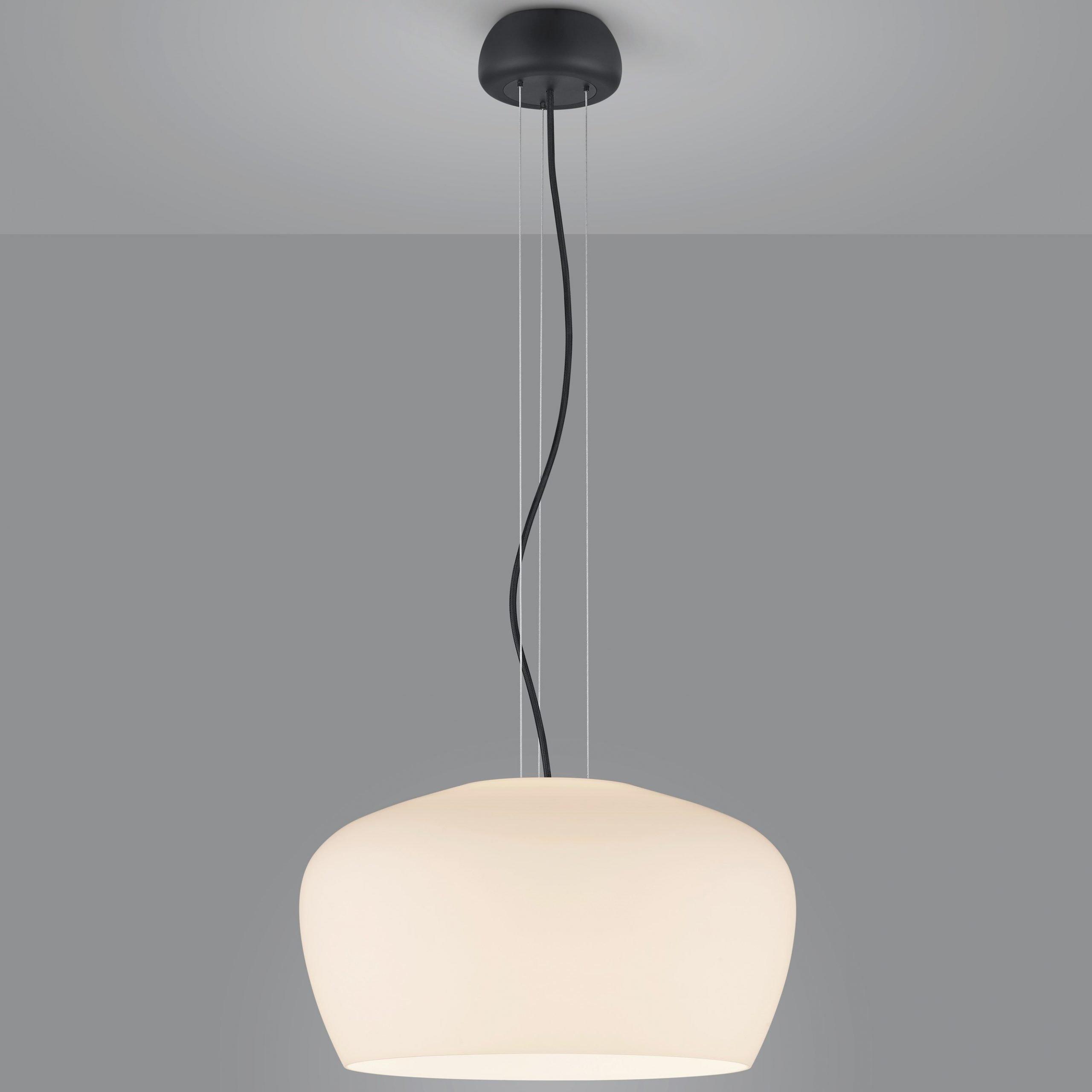 Hanglamp Helestra Veda Zwart Met Opaal Glas