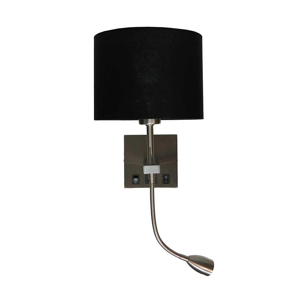 Wandlamp Quad USB Staal Exclusief Kap