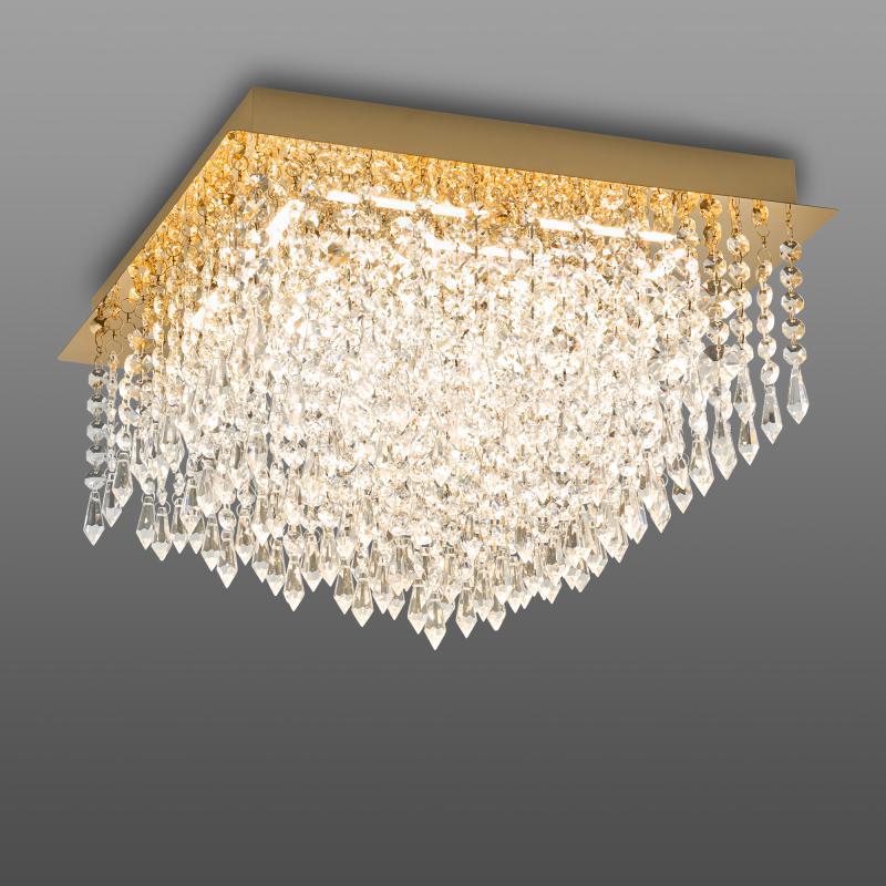 Plafondlamp Palace Messing Vierkant Met B-Link Dimmer