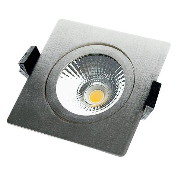 InbouwSpot Star IP54 Geborsteld Aluminium Vierkant