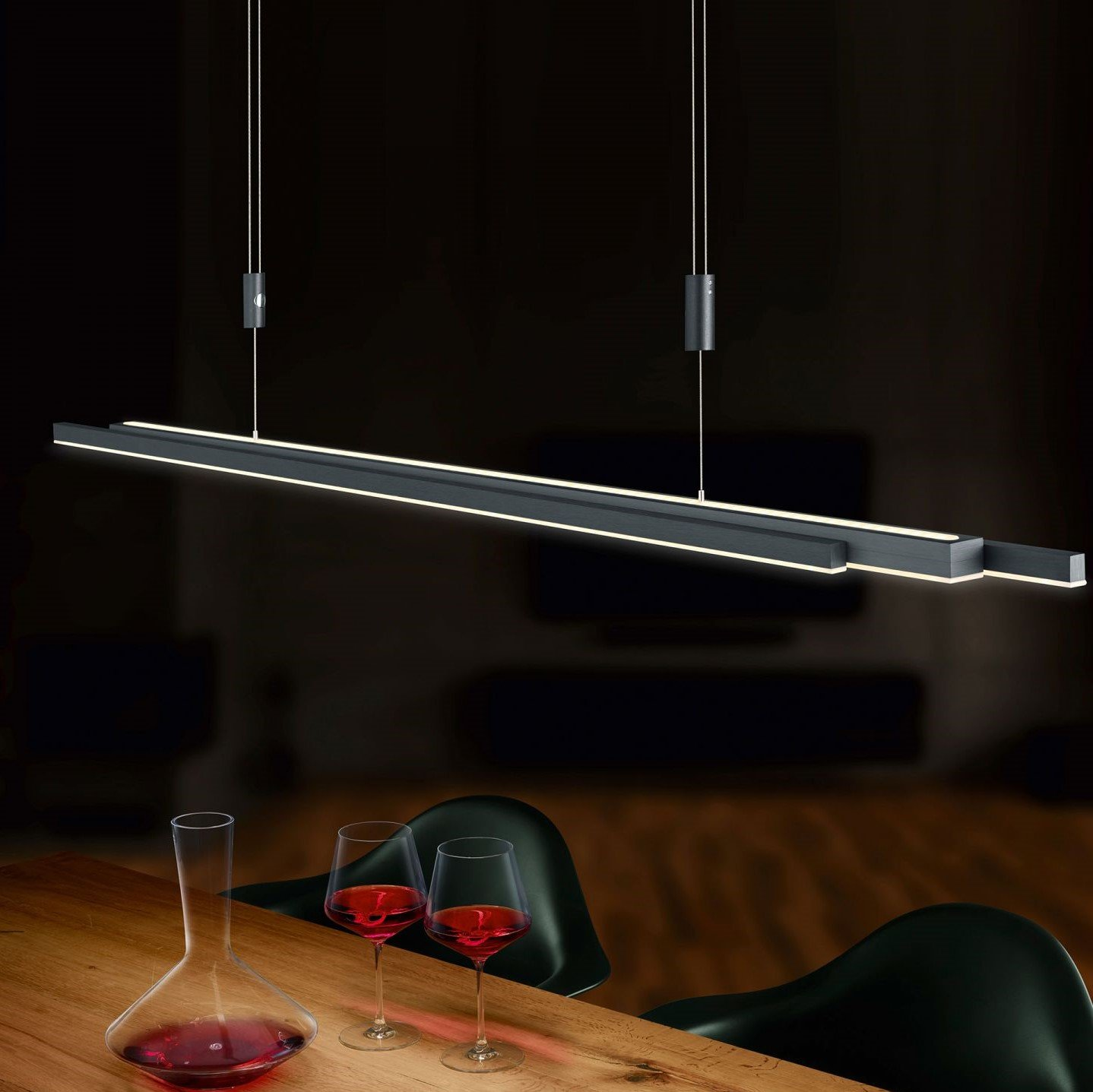 Hanglamp Bankamp L-lightline Up-Down Dim To Warm Antraciet