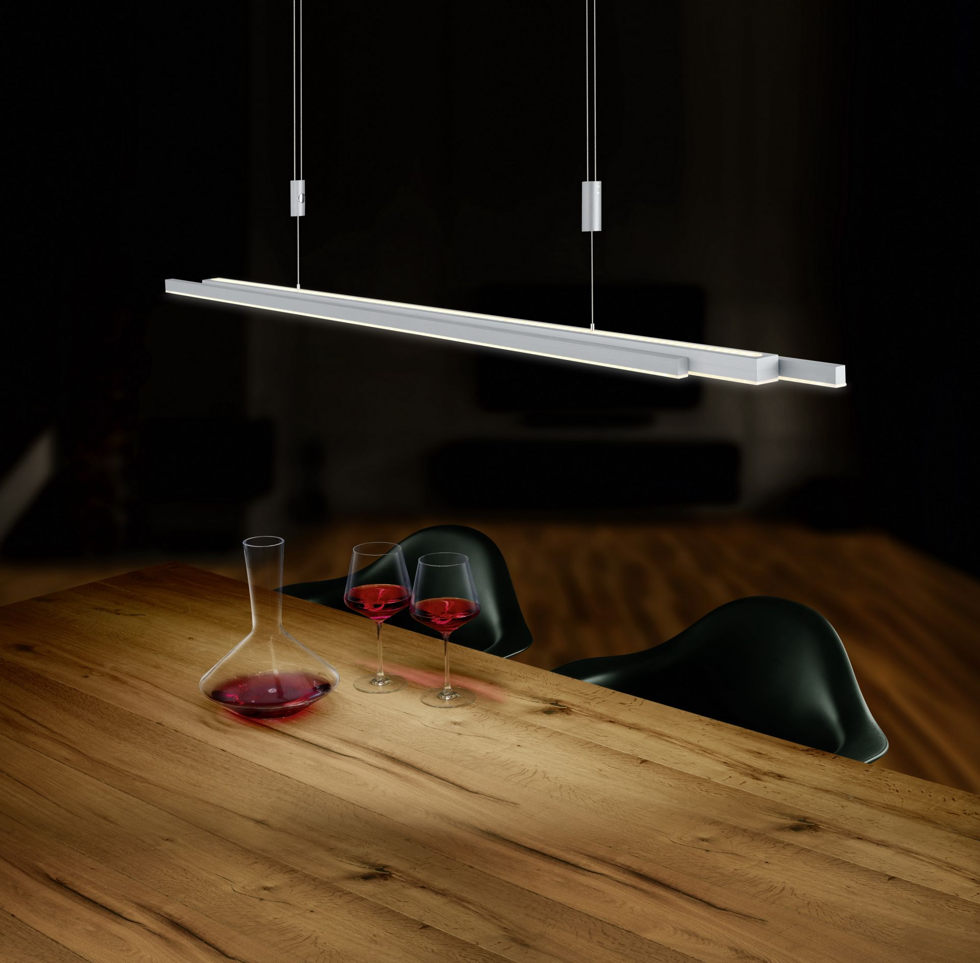 Hanglamp Bankamp L-lightline Up-Down Dim To Warm Mat Nikkel