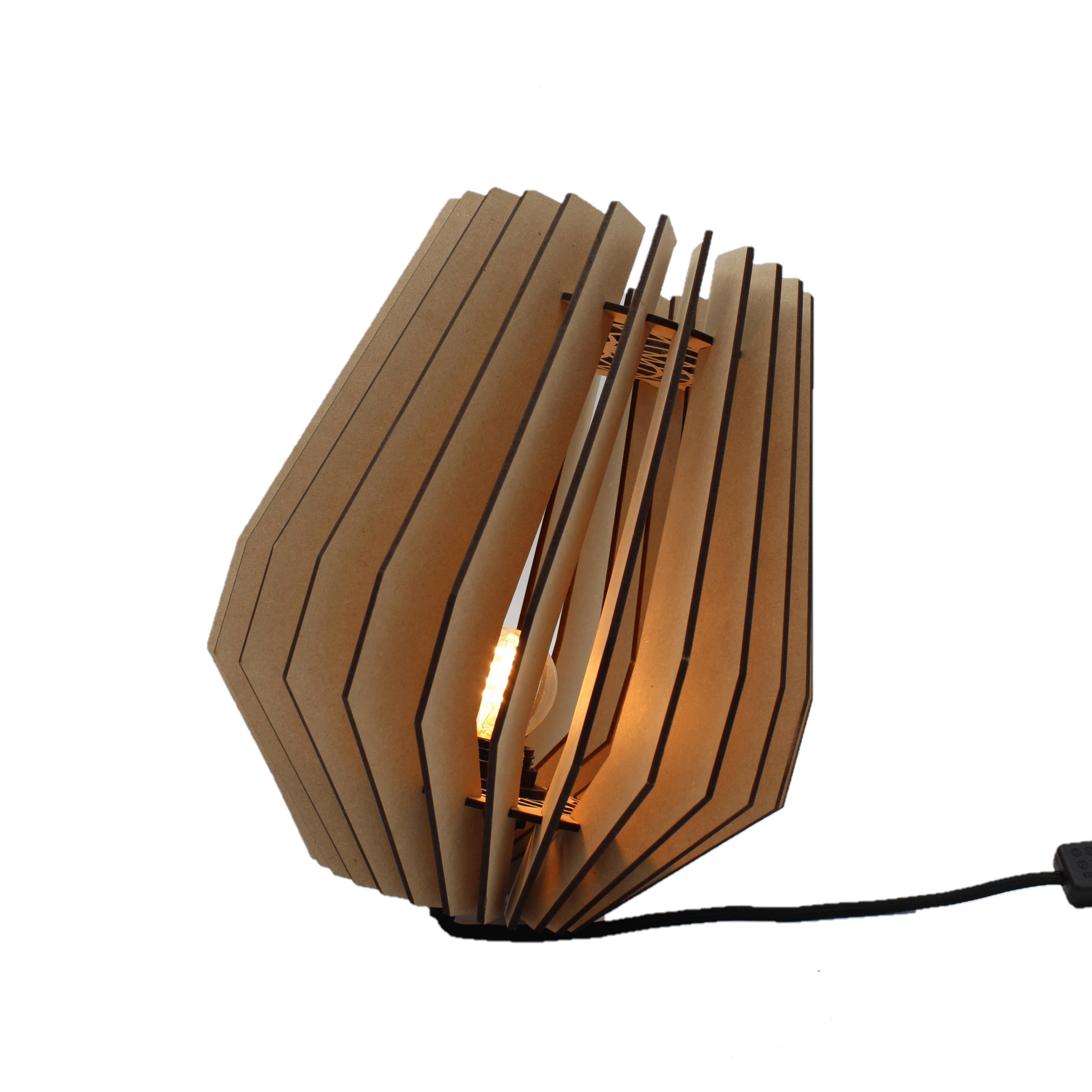 Tafellamp Corners 27cm Naturel Hout