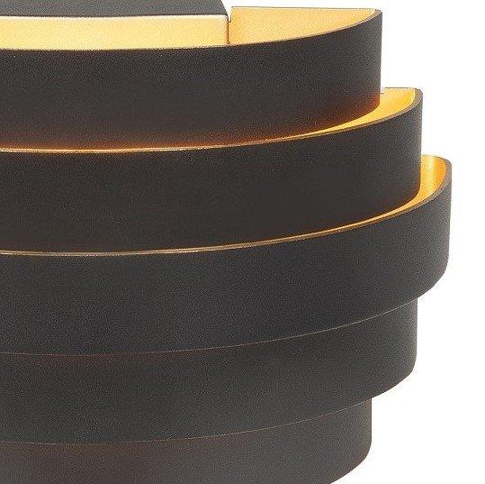 Wandlamp topdonw zwart goud met ringen