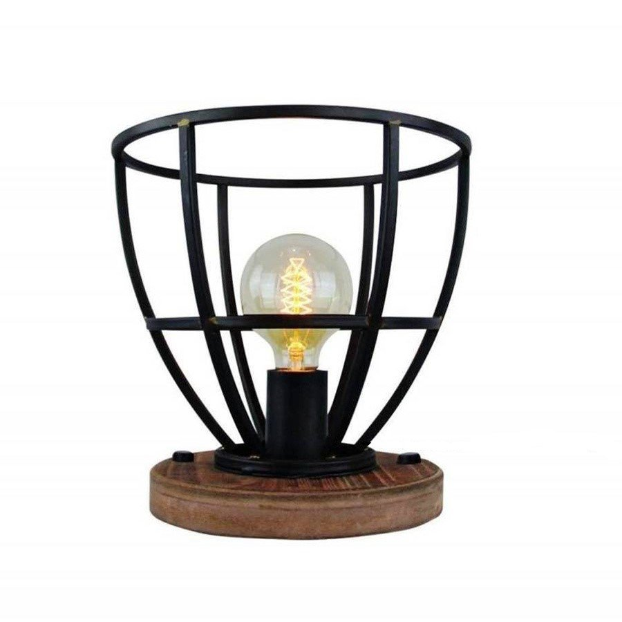 Tafellamp Birdie Zwart Staal Hout