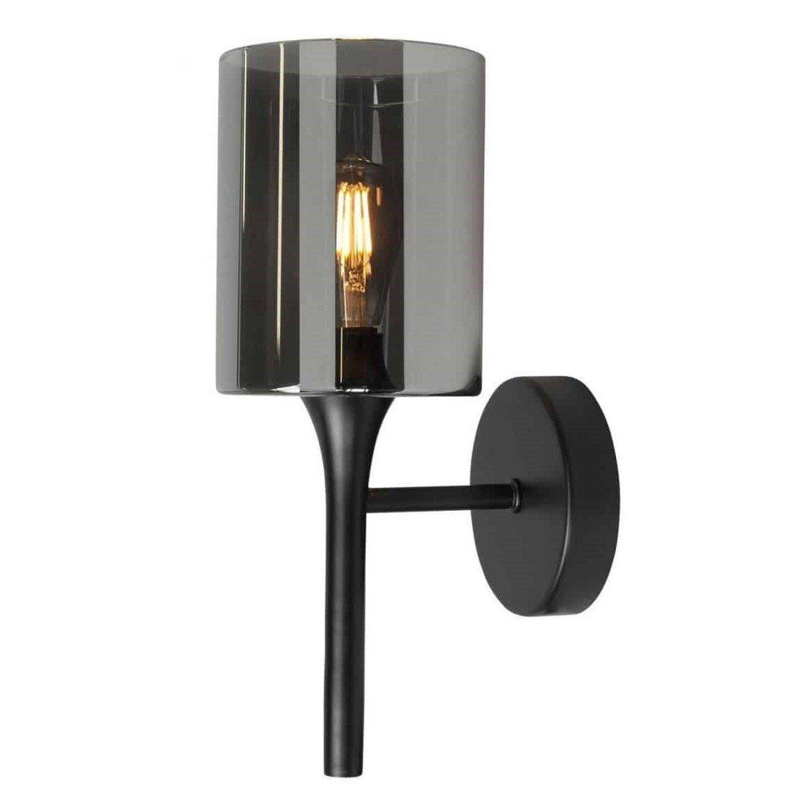 Wandlamp Highlight Diverso Zwart Rookglas W3513.01