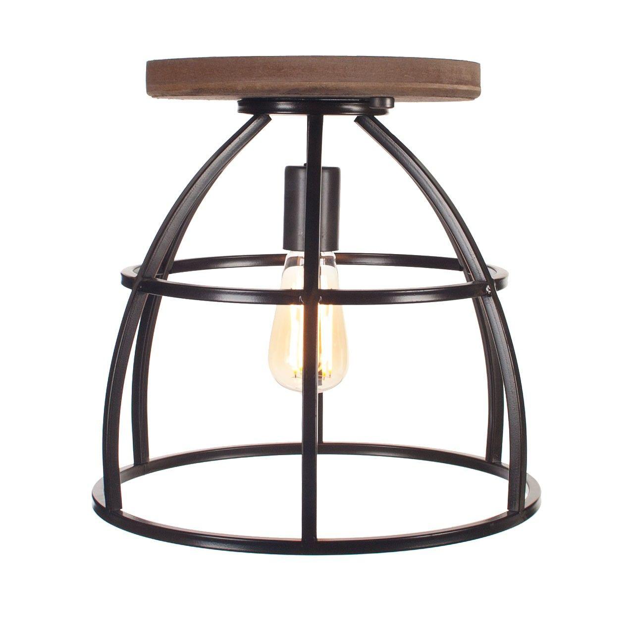 Zwartstaal met hout plafondlamp