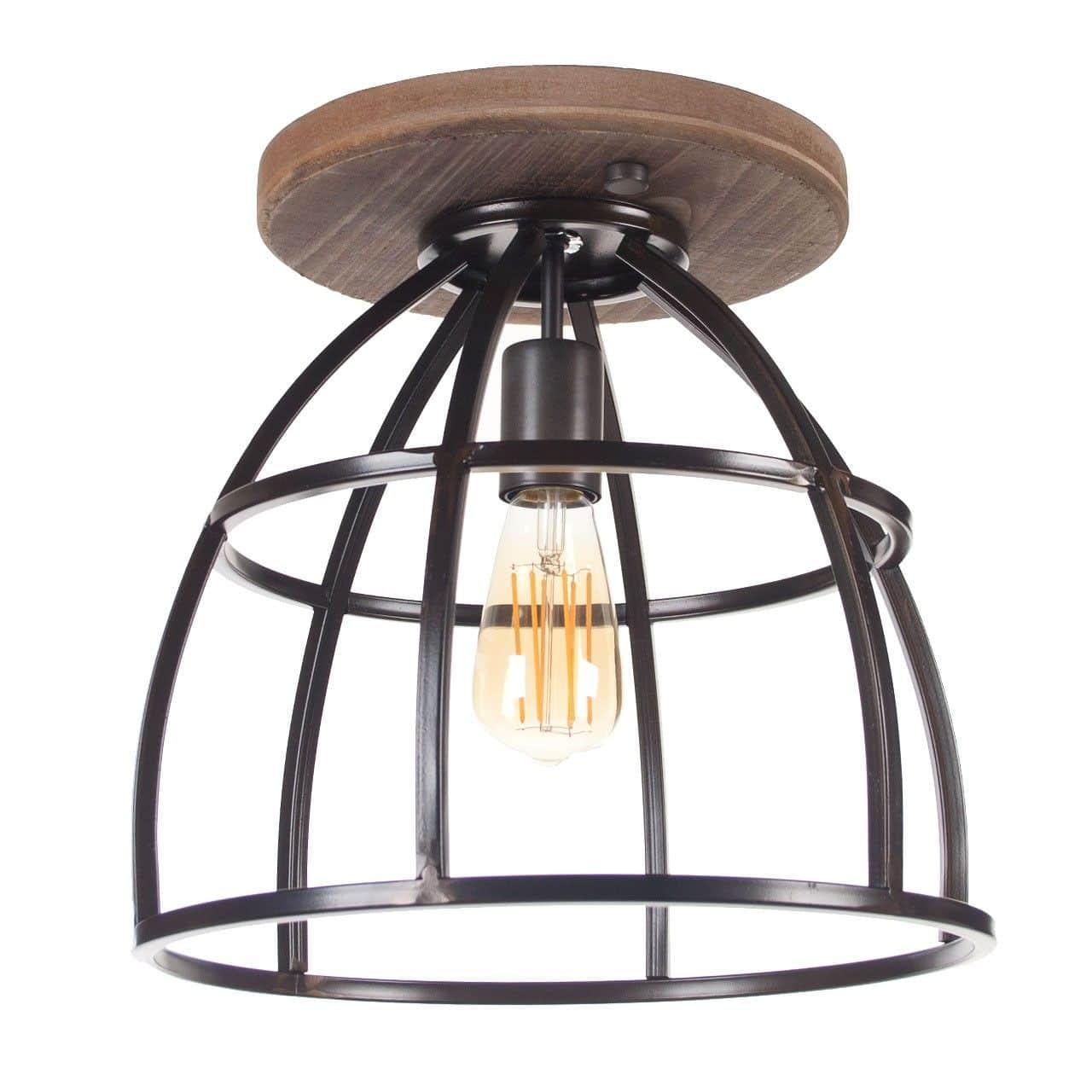 Plafondlamp Birdie Groot Zwart Staal Hout