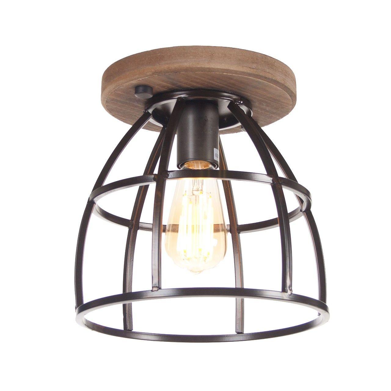 Plafondlamp Birdie Klein Zwart Staal Hout