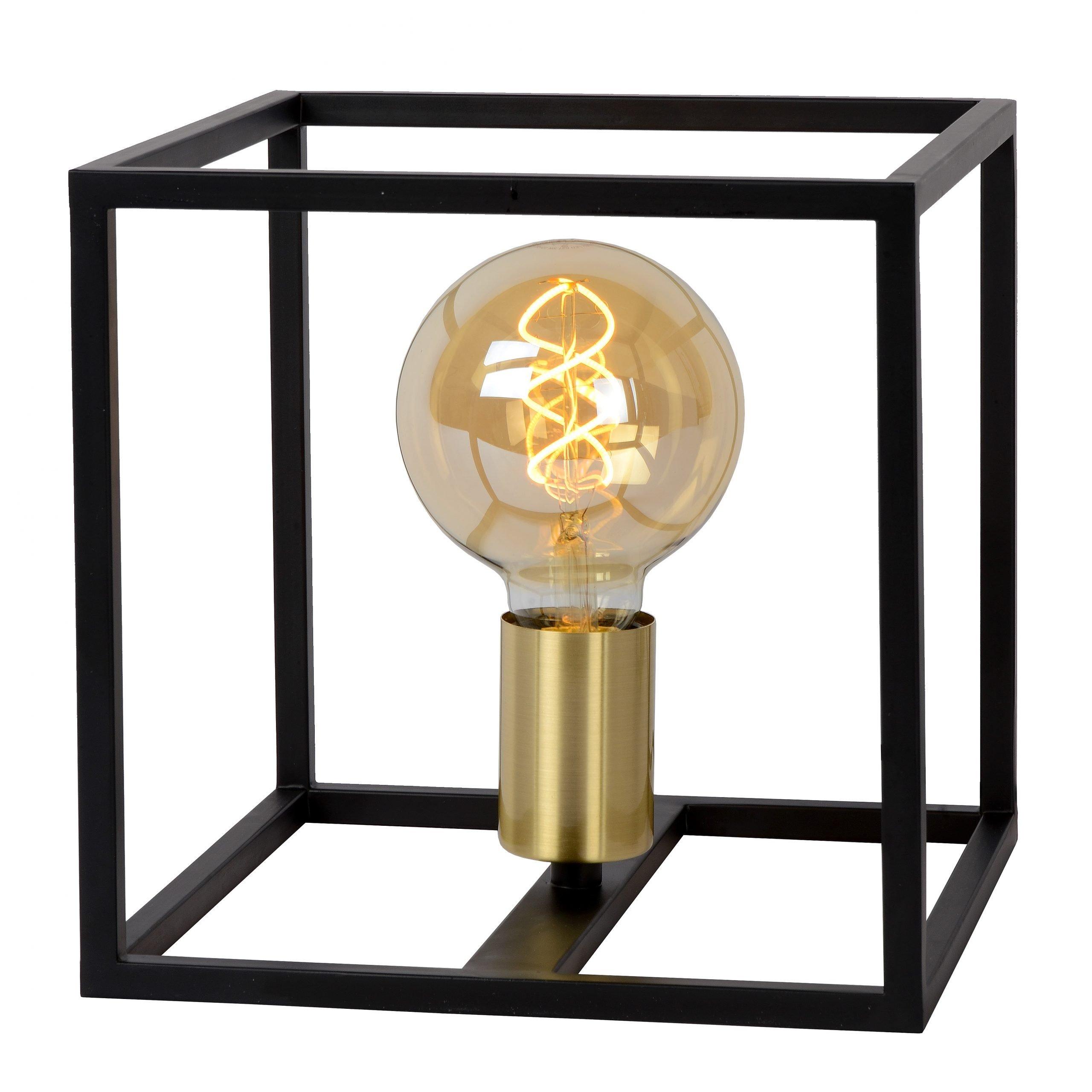Tafellamp Lucide Ruben Kubus Zwart Goud