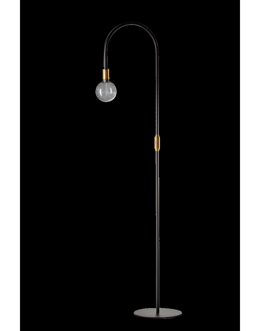 ETH Expo Vloerlamp Pike Zwart Goud Boog